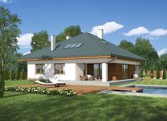 """""""Pastelowy"""" Murator M199 - wygodny dom z użytkowym poddaszem. Ciekawa kolorystyka materiałów wykończeniowych sprawia, że wygląda nowocześnie i stylowo."""