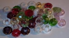 50 Mixed Faceted Glass Beads Large Hole Fit Bracelet UK SELLER Free Post