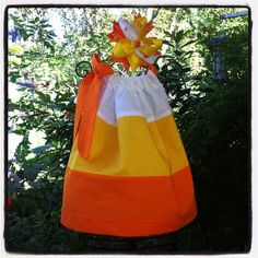 Sweet treat candy corn pillowcase dress infant girls toddlers