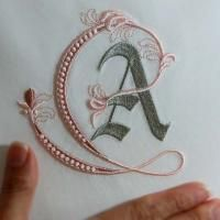 embroidery on paper Fleur de Lis Alphabet- A - These are design files which must be stitched out on a computerized embroidery machineFleur de Lis Alphabet- A: Sonia Showalter. (Pinning for the beads in the embroidery)haft / monogram / inicjały / lit Embroidery Alphabet, Paper Embroidery, Embroidery Monogram, Learn Embroidery, Crewel Embroidery, Silk Ribbon Embroidery, Hand Embroidery Patterns, Machine Embroidery Designs, Embroidery Kits