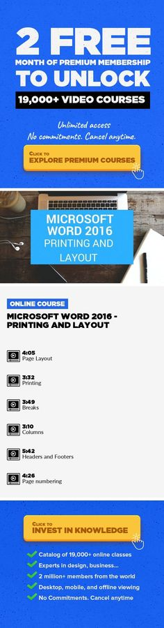 Microsoft Word 2016 - Printing and Layout Business, Productivity, Email, Microsoft Office, Microsoft, Word Processing #onlinecourses #onlinedegreecolleges #onlinelessonsactivities   Hello and welcome to the course where you can learn word from the very beginning. it is nicely designed for beginners to get a great start,while at the same time helping more experienced users to fill in any gaps in th...