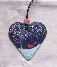 Winter fox unique painted slate heart by TheGlitteringFox on Etsy
