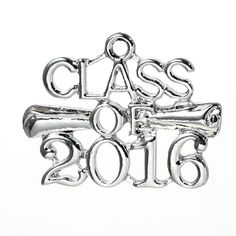 5 Count Silver Tone Class of 2016 Graduation Charm with Diploma Scroll 26mm x 20mm