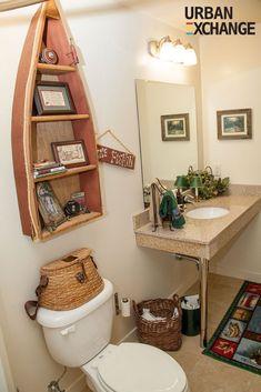 49 Trendy bath room diy beach home decor Lake Bathroom, Fish Bathroom, Cabin Bathrooms, Upstairs Bathrooms, Bathroom Art, Bathroom Designs, Bathroom Ideas, Small Bathroom, Nautical Bathroom Decor