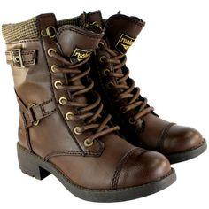 Womens rocket dog thunder mid calf lace up flat military boots uk sizes 3-8