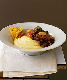 Vegetable Chili With Polenta|Two types of beans give this freezer-friendly chili a big protein punch. Serve over creamy polenta to soak up every last drop.