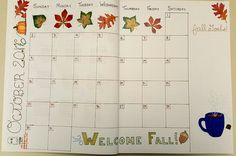 October 2016 bullet journal monthly layout template bujo
