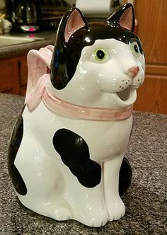 Fitz and Floyd Kitty Cat Tea Pot Pitcher Hand Painted Black White Pink Rare Nice