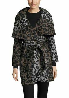 Ideel T TAHARI Marla Wool Coat With Oversize Collar and Self Belt $400.00 $97.99