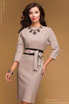 Купить бежевое повседневное платье выше колена с рукавом летучая мышь в интернет-магазине 1001 DRESS
