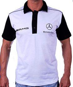 f8754486b3f Mercedes AMG Benz Polo T-Shirt Collier Logo Broderie Embroidery EMBROIDÉ  BRODÉ Blanc en Coton