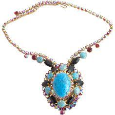 30% off during sale:  Jan. 18 - 21st!  Vintage DeLizza & Elster (D & E, Juliana) Blue Turquoise Matrix Necklace - Book Piece
