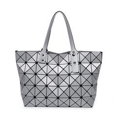 cfb802e244dc BAO BAO Women Diamond Lattice Bag Lady Folding Geometry Package Sequins  Mirror Plain Mosaic Top Handle Tote Shoulder Bag Baobao-in Top-Handle Bags  from ...