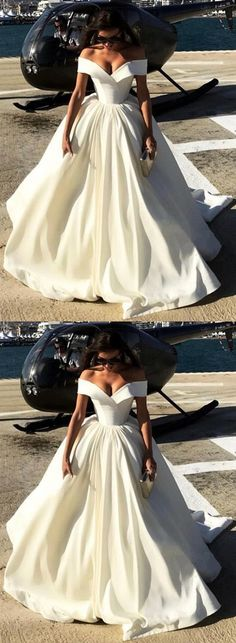 Deep V-neck Ball Gowns Satin Wedding Dresses Off The Shoulder Wedding Dress