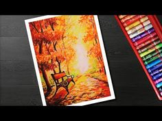 How to draw Autumn scenery drawing and painting for beginners Oil Pastel Drawings Easy, Fall Drawings, Crayon Drawings, Scenery Paintings, Oil Pastel Paintings, Oil Pastels, Pastel Landscape, Landscape Art, Soft Pastel Art
