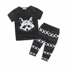 66f3e3177fbe Raccoon Pattern Newborn baby set boys clothes set Kids Baby Boys Outfits T-shirt  Tops+Pants Clothes Set Drop ship