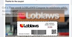 Circulating Facebook post claims that you can click to get a free coupon valued at $100 from Canadian supermarket chain Loblaws.
