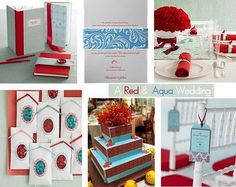These are ideas for my 50s vintage inspired wedding in September. Colour theme - Light blue & red