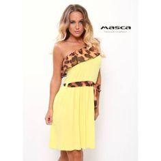 d9cbfd0dae Masca Fashion aszimmetrikus szabású, állatmintás fodorszegélyes, lefelé  bővülő napsárga tunika, miniruha, megkötős övvel
