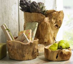 Root of the Earth Bowls - Natural Finish... They also make cheese trays, baskets, platters, and wine caddies.
