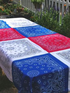 Red, White and Blow them away with this easy-to-make tablecloth idea. Great for the 4th, or any day you're feeling patriotic.