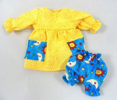 Doll Outfit: Yellow Dress Blue Bloomers for Dolls by JoellesDolls
