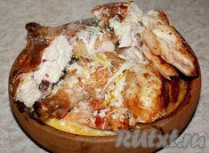 Теперь курочка готова отправиться в духовку. Baked Potato, Camembert Cheese, Potatoes, Chicken, Baking, Ethnic Recipes, Food, Georgian Cuisine, Meat
