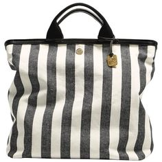 Skagen 'Anja Copenhagen' Stripe Linen Tote ($195) ❤ liked on Polyvore featuring bags, handbags, tote bags, black stripe, zip top tote, striped tote, tote handbags, handbags totes and vintage handbags
