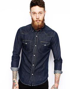 Image 1 ofLee Western Denim Shirt Slim Fit Raw Wash