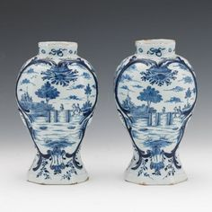 1362. Pair of Delft Blue and White Vases - September 2017 - ASPIRE AUCTIONS