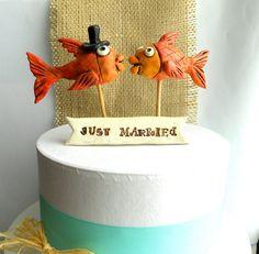 Orange Kissing Fish Folk Art  wedding cake by indigotwinweddings, $60.00