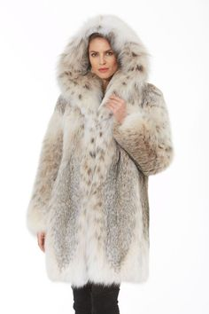 Looking for a fur that is casual yet ultra elegant? You've just found it in this gorgeous Canadian Lynx hooded fur jacket. This stunning natural Canadian Lynx Fur Jacket, Hooded Jacket, Cool Coats, Fur Clothing, Fabulous Furs, Fox Fur Coat, Fur Fashion, Style Fashion, Black Blazers