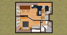 "CozyHomePlans.com 472 sq ft Small House Floor Plan Concept ""Cashmere Delux"" 3D Top View"