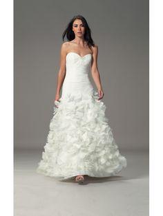 Beautifully Beaded Bodice Strapless Sweetheart Tulle Mermaid Wedding Dress with Ruffled Skirt