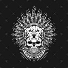 Check out this awesome 'Aztec+Jaguar+Warrior+Skull' design on Jaguar Tattoo, Aztec Warrior Tattoo, Warrior Tattoos, Tatuagem Azteca, Indian Skull Tattoos, Tribal Tattoos, Violet Flower Tattoos, Headdress Tattoo, Indian Animals