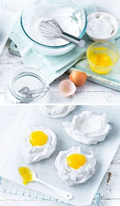 How great are these Easter meringue 'eggs'? Use passion fruit juice and yellow food colouring for the yolks, and tasty dairy-free coconut milk yogurt for the whites.