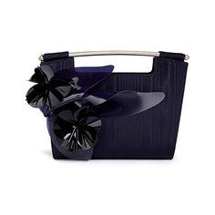 Delpozo 'Mini Gret' woodgrain effect floral appliqué clutch (4 520 PLN) ❤ liked on Polyvore featuring bags, handbags, clutches, blue, evening hand bags, blue purse, blue evening purse, blue handbags and mini handbags