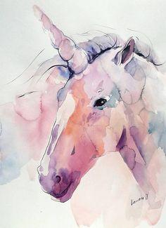 Unicorn watercolor painting original. Nursery wall art.