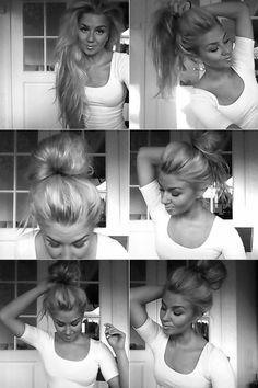 Messy up do. But really though is that all real hair? Holy. Be honest ladies some of us would sell our souls for that hair.