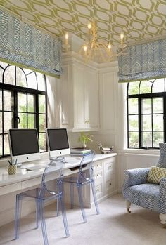Don't forget about the ceilings! Why not cover in a fun trellis wallpaper?