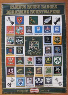 FAMOUS RUGBY BADGES- Large poster with 20 old SA Provincial and 14  international rugby badges  a1b09d598