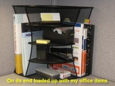 Add Some Storage Versatility with a 2-Way Corner Shelf Unit|CubicleBliss   A very versatile #cubicle shelving unit for your office. Can be used on its end and on its side!