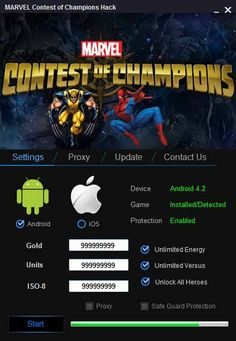 Marvel contest of champions hack tool Cheats Engine Free Download No Survey 4 android, IOS, PC, with Marvel contest Hack get unlimited lives, gold, coins.