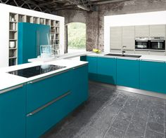 Teal satin lacquer kitchen finish  (New for 2015!)