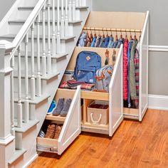 Under Stairs Storage Solutions, Under Stairs Cupboard, Under Stairs Storage Drawers, Under Basement Stairs, Under Staircase Ideas, Closet Under Stairs, Space Under Stairs, Basement Walls, Staircase Storage