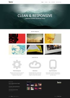 Hero is a responsive and minimal portfolio theme for creative types who want to show off their best work and highlight their services. One of the key features of this theme is the parallax home page banner that allows you display your key message in an engaging fashion.