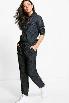 #boohoo Denim Utility Dress - black DZZ64293 #Kelly Denim Utility Dress - black
