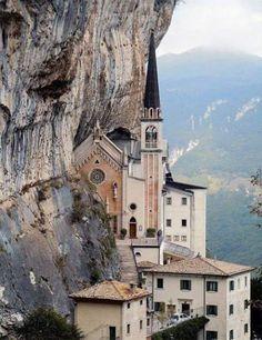 Santuario della Madonna della Corona (Shrine of the Lady of the Crown). Spiazzi, Verona, . Italy. Hidden in the heart of the Baldo rocks. 1540 stairs to access (2 hrs climbing, 1 hr downhill)