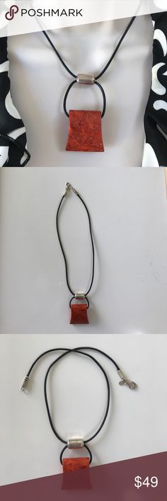 Silpada coral leather necklace Orange coral adjustable necklace on a black leather cord Silpada Jewelry Necklaces