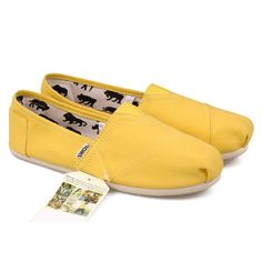 Cheap Toms Classics Women shoes Earthwise Slate Canvas yellow